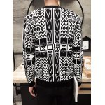 Geometric Pattern V-Neck Button Up Cardigan for sale
