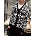 Geometric Pattern V-Neck Button Up Cardigan deal
