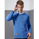 cheap Crew Neck Patch Design Pullover Knitwear