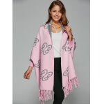 cheap Auspicious Clouds Jacquard Fringed Cape Cardigan