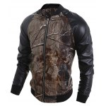 cheap Stand Collar 3D Deadwood Print PU-Leather Spliced Jacket