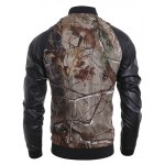Stand Collar 3D Deadwood Print PU-Leather Spliced Jacket deal