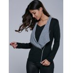 cheap Two Tone Asymmetrical Zip Jacket