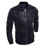 cheap Stand Collar Crack Design PU-Leather Zip-Up Bomber Jacket