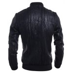 Stand Collar Crack Design PU-Leather Zip-Up Bomber Jacket deal