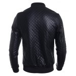 Stand Collar Argyle PU-Leather Zip-Up Bomber Jacket deal
