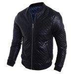 cheap Stand Collar Argyle PU-Leather Zip-Up Bomber Jacket