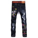 cheap Paint Splatter Zipper Fly Jeans