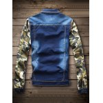 cheap Single Breasted Camouflage Flag Pattern Denim Jacket