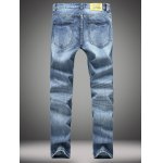 cheap Zipper Fly Straight Leg Distressed Jeans