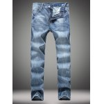Zipper Fly Straight Leg Distressed Jeans