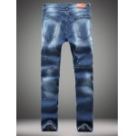cheap Paint Splatter Straight Leg Jeans