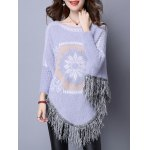 cheap Flower Jacquard Fringed Cape Sweater