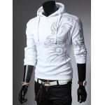 cheap Totem Printed Drawstring Long Sleeves Hoodie