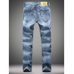 cheap Straight Leg Zip-Fly Distressed Jeans