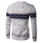 cheap Crew Neck Geometric Space Dyed Sweater