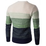 cheap Crew Neck Gradient Color Space Dyed Sweater