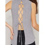 Lace Up Back High Collar Sleeveless Sweater for sale
