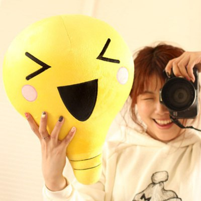 Cartoon Risus Emoji Bulb Shape Short Plush Toy