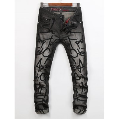 Letter Embroidered Scratched Narrow Feet Jeans