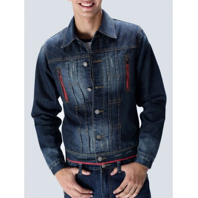 Zippered Contrast Trim Denim Jacket