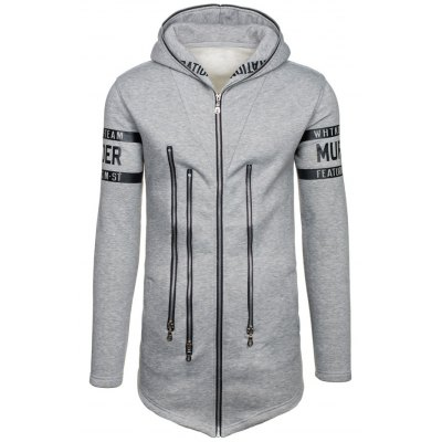 Zip Up Hoodie with Zipper Letter Embellishment