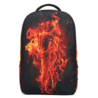 Color Splicing Flame Print Canvas Backpack
