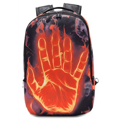 Hand Print Color Splicing Backpack