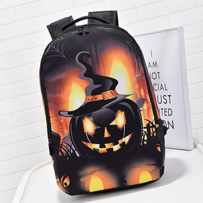 Pumpkin Printed Colour Spliced Halloween Backpack