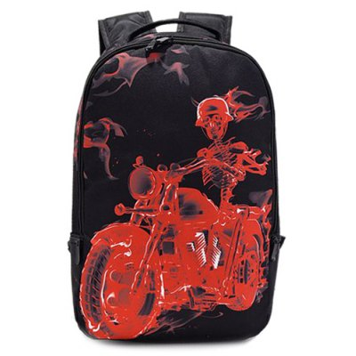 Skeleton Print Colour Splicing Backpack