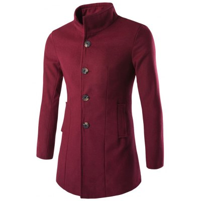 Slim-Fit Stand Collar Wool Blend Coat