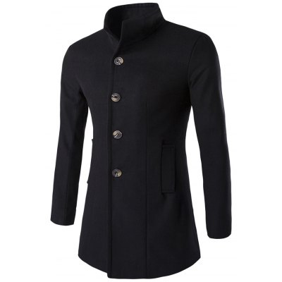 Stand Collar Wool Blend Coat