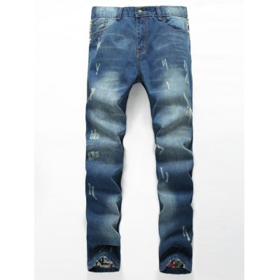 Zipper Fly Distressed Printed Lining Jeans