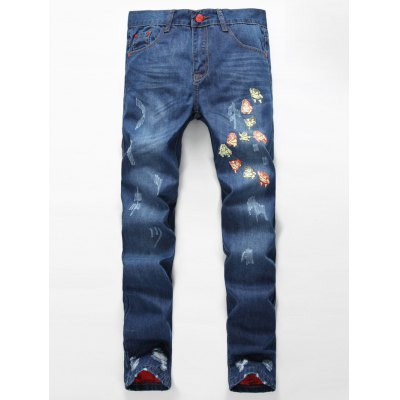 Zipper Fly Distressed Cartoon Printed Lining Jeans