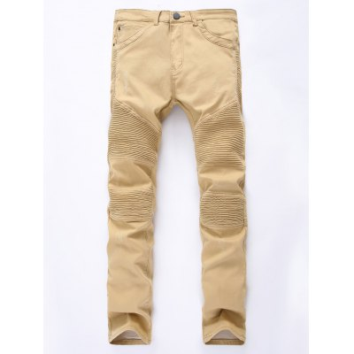 Zip Up Khaki Moto Jeans