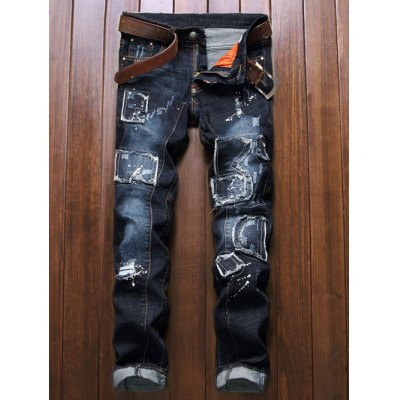 Zip Fly Patch Design Distressed Jeans