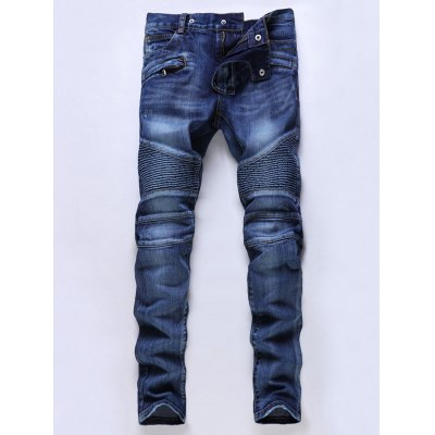 Mid Waisted Zip Fly Moto Jeans