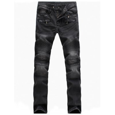 Zippered Scratched Biker Denim Jeans