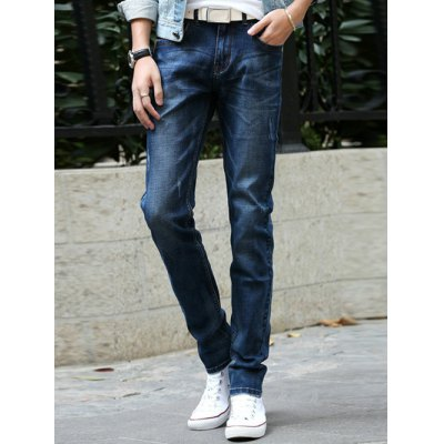 Narrow Feet Zipper Fly Scratched Jeans