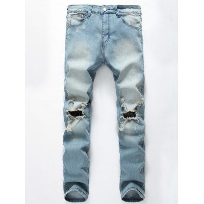 Zip Fly Beam Feet Distressed Jeans