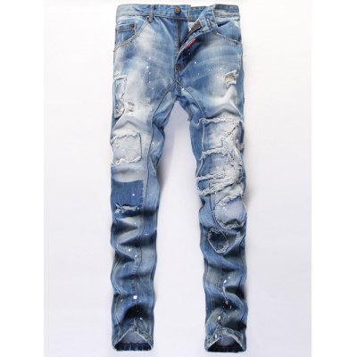 Print Patched Frayed Ripped Jeans