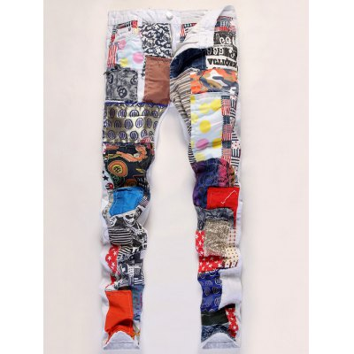 Sequined Embroidered Patchwork Jeans
