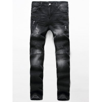 Ribbed Zippered Scratched Ripped Biker Jeans