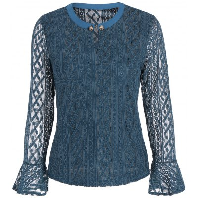 Keyhole Lace Bell Sleeve Blouse