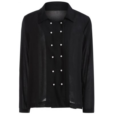 Autumn Faux Pearl Double-Breasted Shirt