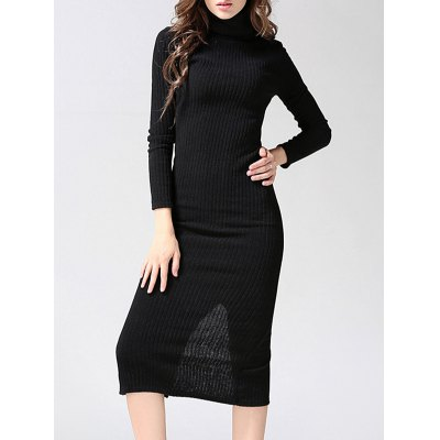 Knitted Back Slit Bodycon Dress