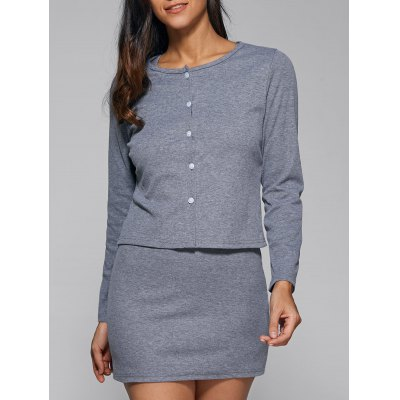 Skinny Dress + Buttoned Outerwear Twinset