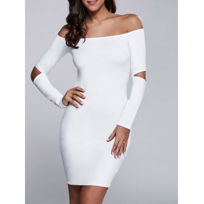 Autumn Cut Out Off-The-Shoulder Bodycon Dress with Sleeves