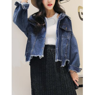 Frayed Irregular Hem Denim Jacket