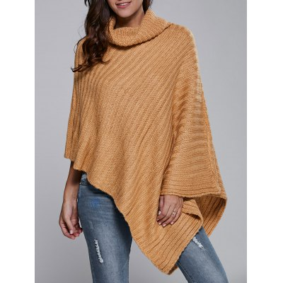 Turtle Neck Batwing Sleeve Cape Sweater